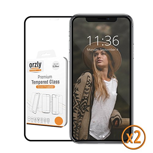 Transparency Overlay (iPhone X Screen Protector [x2], Orzly iPhone X / iPhone 10 Pro-Fit Tempered Glass Screen Protector TWIN PACK for iPhone X [Full Screen Coverage] – BLACK Frame)
