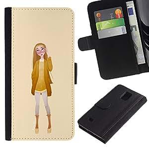 Planetar® Modelo colorido cuero carpeta tirón caso cubierta piel Holster Funda protección Para Samsung Galaxy Note 4 IV / SM-N910 ( Girl Glasses Fashion Yellow Woman )