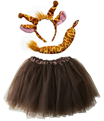 So Sydney Kids Teen Adult Plus Tutu Skirt, Ears, & Tail Headband Costume Halloween Outfit (M (Kid Size), Giraffe Brown & Yellow)