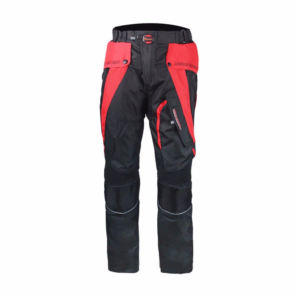 LKN Pantalon homme et femme de protection pour moto Impermé able et coupe-vent Convient pour 4 saisons Rouge A020042-03-red-XL