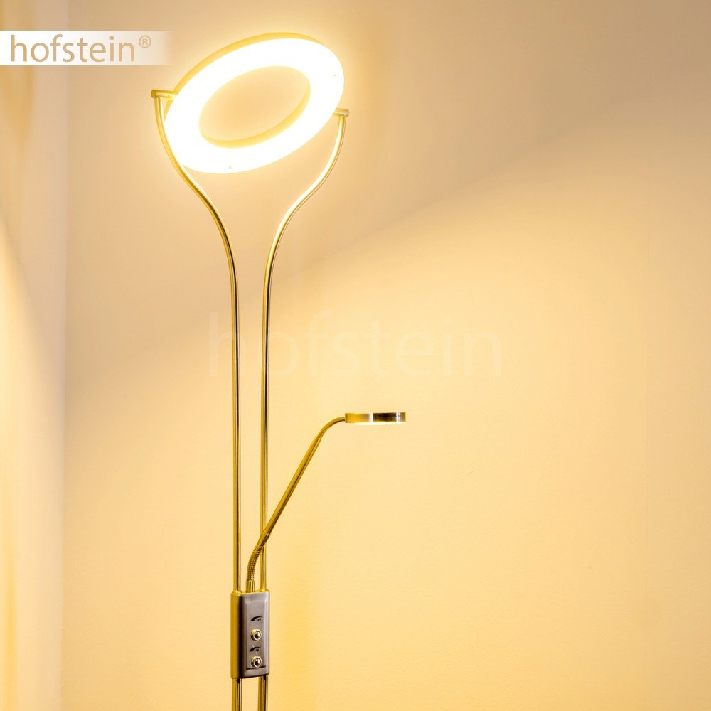 Parfait comme lampadaire sur pied de salon Lampadaire LED Donna avec lampe de lecture flexible et anneau pivotant Luminaire argent/é mat avec variateurs dintensit/és ind/épendants