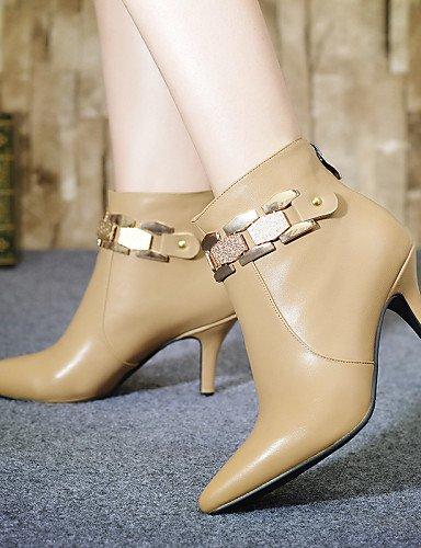 Moda Casual Vestido Beige 5 Xzz Mujer us6 Tacón Zapatos Negro Stiletto 5 Uk4 Semicuero A Eu37 Cn37 La Botas Beige Puntiagudos 5 De 7 Naranja vq4zwx6BvP