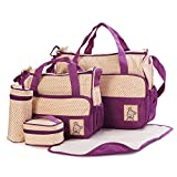 ANSAN 5-in-1 5 pcs Baby Changing Diaper Nappy Bag Tote Mummy Mother Multifunctional Handbag Mummy Package Purple