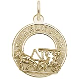 Gold Plated Charleston Carriage Charm, Charms for Bracelets and Necklaces