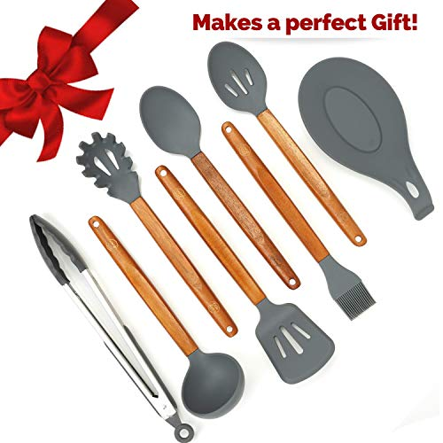 ELLO HOME Silicone Cooking Utensils Set | 8 Piece Kitchen Utensil Set | Natural Acacia Wooden Kitchen Utensils | Gray Silicone Utensil Set for Nonstick Cookware Pots Pans BBQ Tongs Spoon Rest