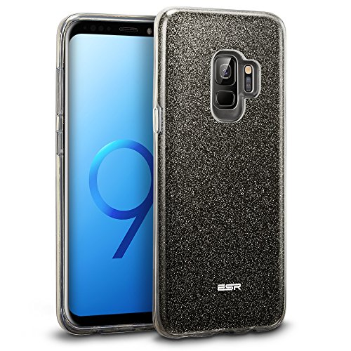 ESR Makeup Glitter Case Compatible for The Samsung Galaxy S9, Glitter Sparkle Bling Case Protective Cover [Three Layer][Supports Wireless Charging] for Galaxy S9 5.8 inch, Black(Released in 2018)