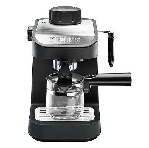 - KRUPS XP1020 Steam Espresso Machine with Glass Carafe, 4-Cup, Black