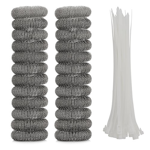 OnUpgo 24 Pack Lint Traps for Washing Machine Lint Trap Snare Laundry Mesh Washer Hose Filter with Nylon Cable Ties, Stainless Steel Mesh Filter Won't Rust, Easy Installation ()