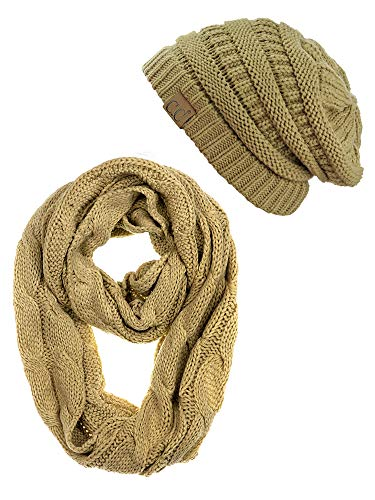 - C.C Unisex Soft Stretch Chunky Cable Knit Beanie and Infinity Loop Scarf Set, Camel