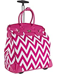 Ever Moda Chevron Travel Bag with Wheels Luggage Carry On for Laptop