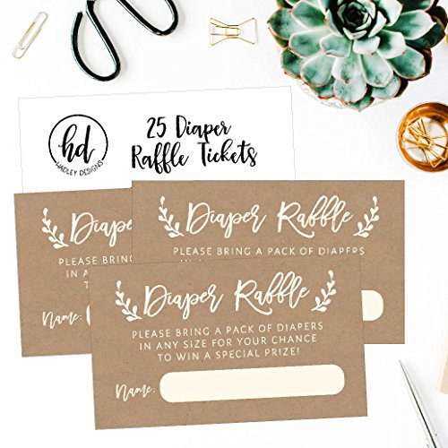 25 Diaper Raffle Ticket Lottery Insert Cards for Rustic Kraft Baby Shower Invitations, Supplies and Games for Baby Reveal Party, Gender Neutral Bring a Pack of Diapers to Win Favors, Gifts and Prizes by Hadley Designs (Image #4)