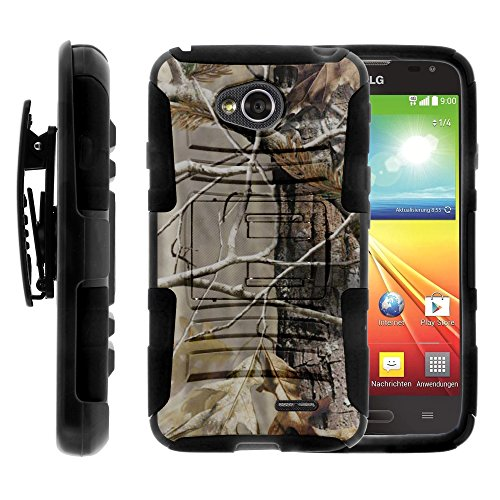 LG Ultimate 2 Case, LG Ultimate 2 Holster, Two Layer Hybrid Armor Hard Cover with Built in Kickstand for LG Optimus L70 MS323, LG Optimus Exceed 2 VS450PP, LG Realm LS620, LG Ultimate 2 L41C (Metro PCS, Verizon, Boost Mobile) from MINITURTLE | Includes Screen Protector - Fallen Leaves Camouflage (Lg Realm Phone Boost Mobile)