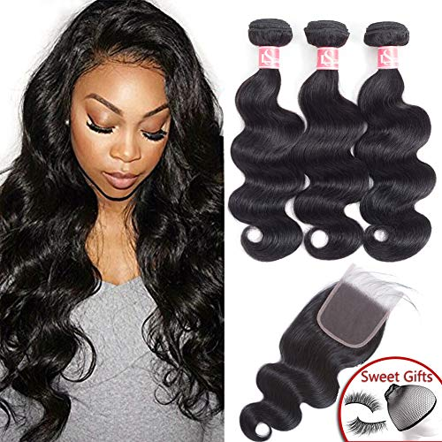 LS Brazilian Body Wave Bundles with Closure (14 16 18 with 12 Free Part) 8a Unprocessed 100% Human Hair Bundles with Closure Brazilian Virgin Human Hair Weave Natural Black Color (Human Hair 18 Inch Weave)