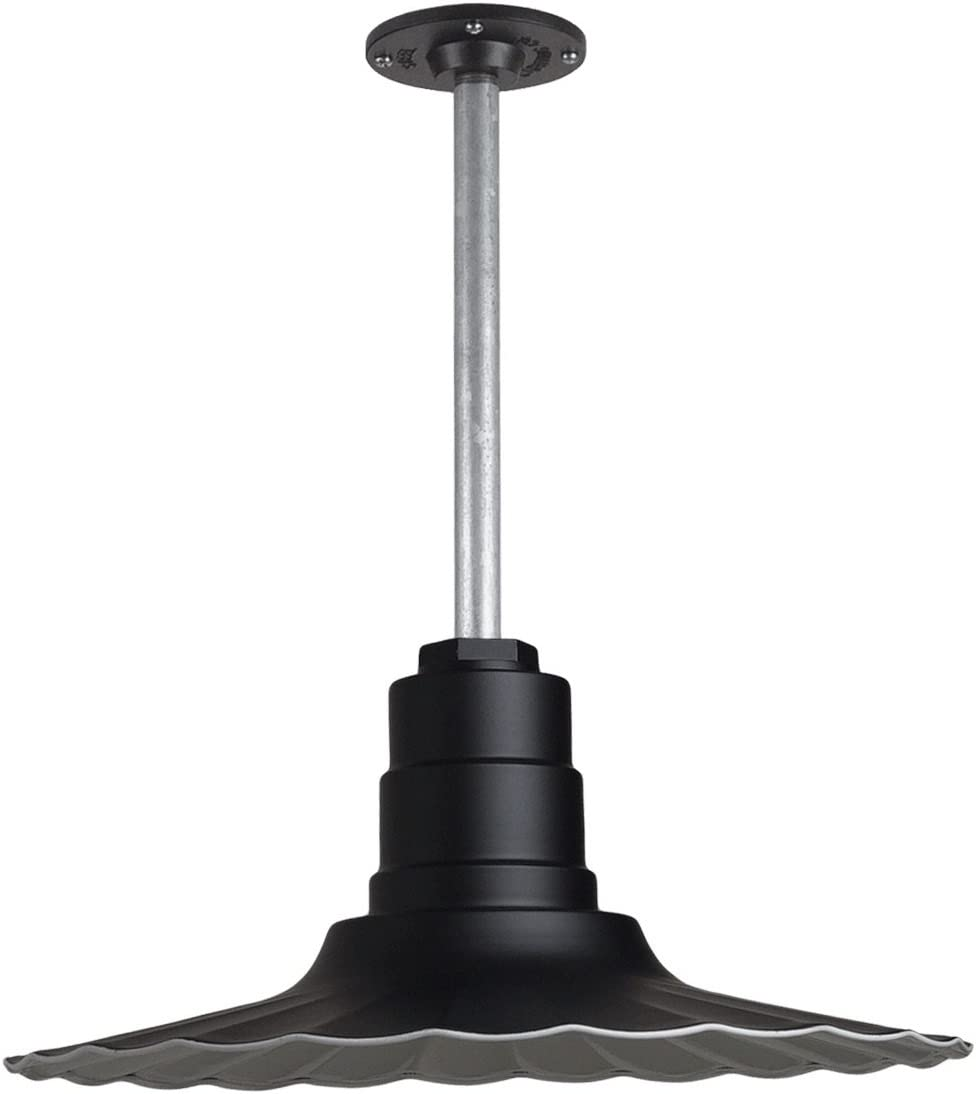 Retro Radial Wave Pendant Light The Eagle Rock Steel Ceiling Light is Made in America Outdoor Rated Ceiling Mounted Light Matte Black