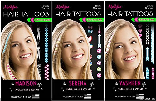 3 Pack Maddyloo Temporary Hair & Body Tattoos - Fun GLOW IN THE DARK Collection - Gorgeous Art for your Hair & Skin OVER 300 tattoos on 6 separate tattoo sheets! -