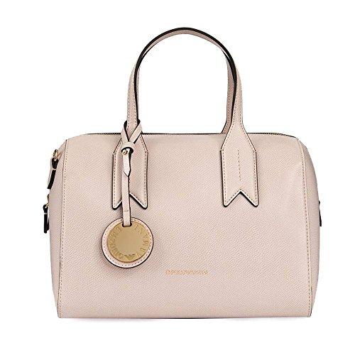 Emporio Armani Frida rosa textura asa superior bolso de Bowling Pink Leather