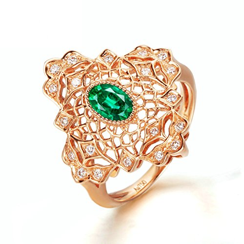Gnzoe Rose Gold Women Wedding Rings Solitaire Engagement Rings Rose Gold with Green 0.578ct Emerald Size 6 by Gnzoe (Image #2)