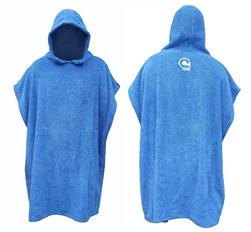 urf Beach Poncho in Cotton Towelling w Adjustable Sleeves [Choose Color] (Blue, Teen) ()