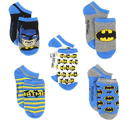 Batman Boys 5 pack Socks (4-6 (Shoe: 7-10), Batman Blue) (Batman For Toddlers)