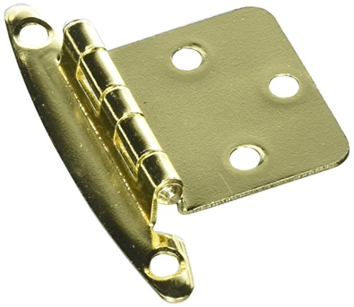 Variable Overlay Non Self-Closing, Face Mount Polished Brass Hinge - 2 Pack