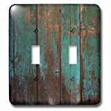 3dRose lsp_239940_2 2 Teal Distressed Country Wood Effect-Double Toggle Switch