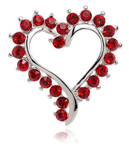 Akianna Silver-tone Swarovski Element Crystals Valentine Heart Pin Brooch Red