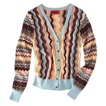 (Missoni for Target V-neck Knit Cardigan Sweater Multicolor Zigzag Print - Size Extra Small)