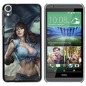 YOYOYO Smartphone Protección Defender Duro Negro Funda Imagen Diseño Carcasa Tapa Case Skin Cover Para HTC Desire 820 - mujer poderosa chica sexy sur