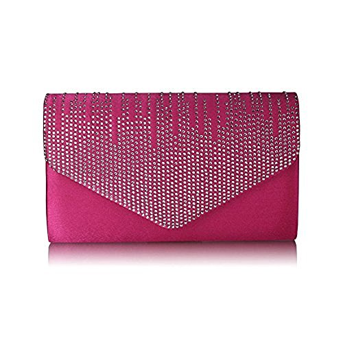 Prom Ladies Pink Evening Flapover Satin Diamante Clutch Pink Wedding Design Bag Party WqIRBqC