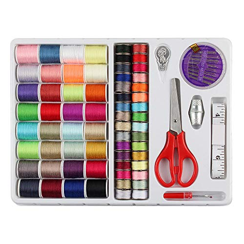 (SRIVILIZE888 Sewing Kit 60 Colors Thread Spool 25-30 Meters Mixed Colors Basic Thimbles Threader Seam Ripper Sewing Machine, DIY Children)