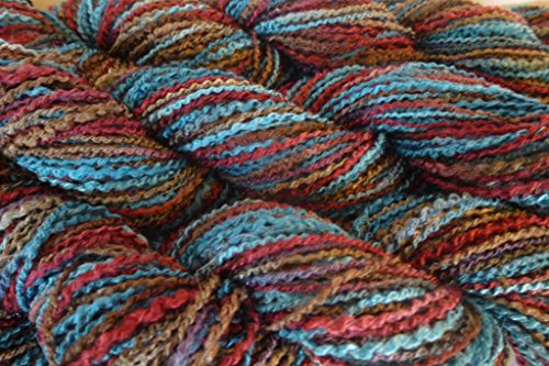 Space dyed teal cranberry tan blue multicolor Sport Weight zig zag Yarn