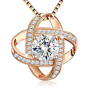 "J.Rosée Jewelry Sterling Silver Pendant Necklace Rose-gold Necklace ""Never Ever Be Apart"" Exquisite Gift Package (45cm+3)"