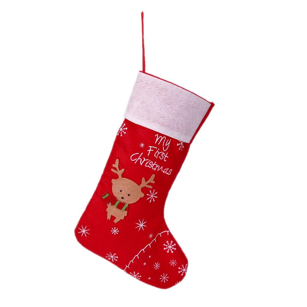 Baby's First Christmas Stocking Elk Snowflake Socks Decor Santa Claus Candy Gifts Hang Bag Childplaymate
