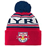 MLS New York Red Bulls R S8ALR Youth Boys Cuffed Knit Hat With Pom, One Size (8), New Navy