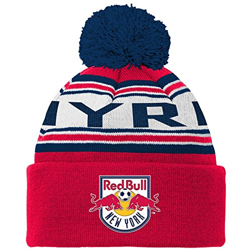 (MLS New York Red Bulls R S8ALR Youth Boys Cuffed Knit Hat with Pom, One Size (8), New Navy )