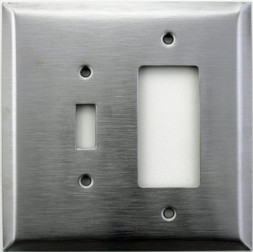 Over Sized Jumbo Satin Stainless Steel Two Gang Wall Plate - One Toggle One GFI/Rocker Opening