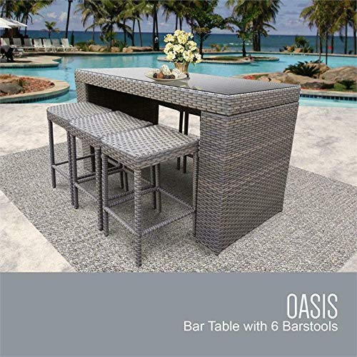 - JumpingLight Monterey Bar Table Set Backless Barstools 7 Piece Patio Furniture Durable and Ideal for Patio and Backyard