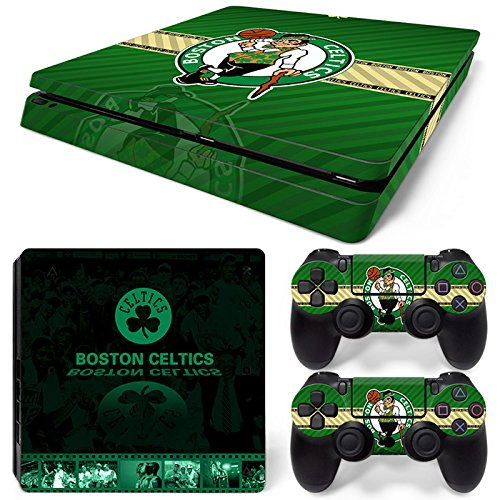 FriendlyTomato PS4 Slim Skin and DualShock 4 Skin - Basketball NBA Boston - PlayStation 4 Slim Vinyl Sticker for Console and Controller -