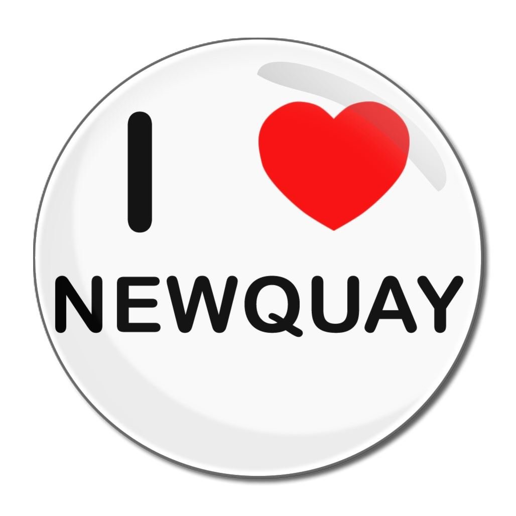 I Love Newquay - 55mm Round Compact Mirror BadgeBeast.co.uk 55mir-newquay