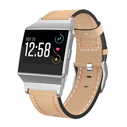 For Fitbit Ionic Bands, AISPORTS Fitbit Ionic Band Leather Band Smart Watch Adjustable Replacement Band with Metal Classic Bracelet Buckle Clasp for Fitbit Ionic Fitness Accessories - Beige