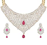 Swasti Jewels Cz Zircon Indian Fashion Jewelry Bridal Wedding Set Necklace Earrings for Women Pink