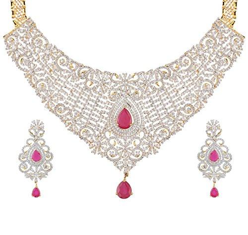 Swasti Jewels Cz Zircon Indian Fashion Jewelry Bridal Wedding Set Necklace Earrings for Women Pink by Swasti Jewels