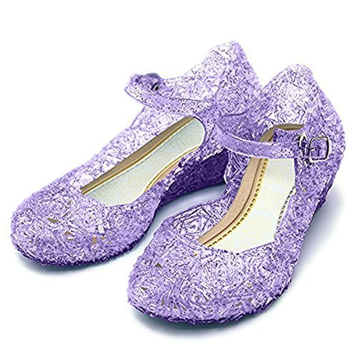 L-Peach Princess Girls' Cute Sparkle Sandals Fancy Dress Up Jelly Party Dancing Cosplay (Fancy Little Girl Shoes)