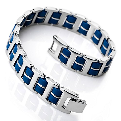 INBLUE Men's Stainless Steel Rubber Bracelet Link Wrist Silver Tone Blue Rectangular