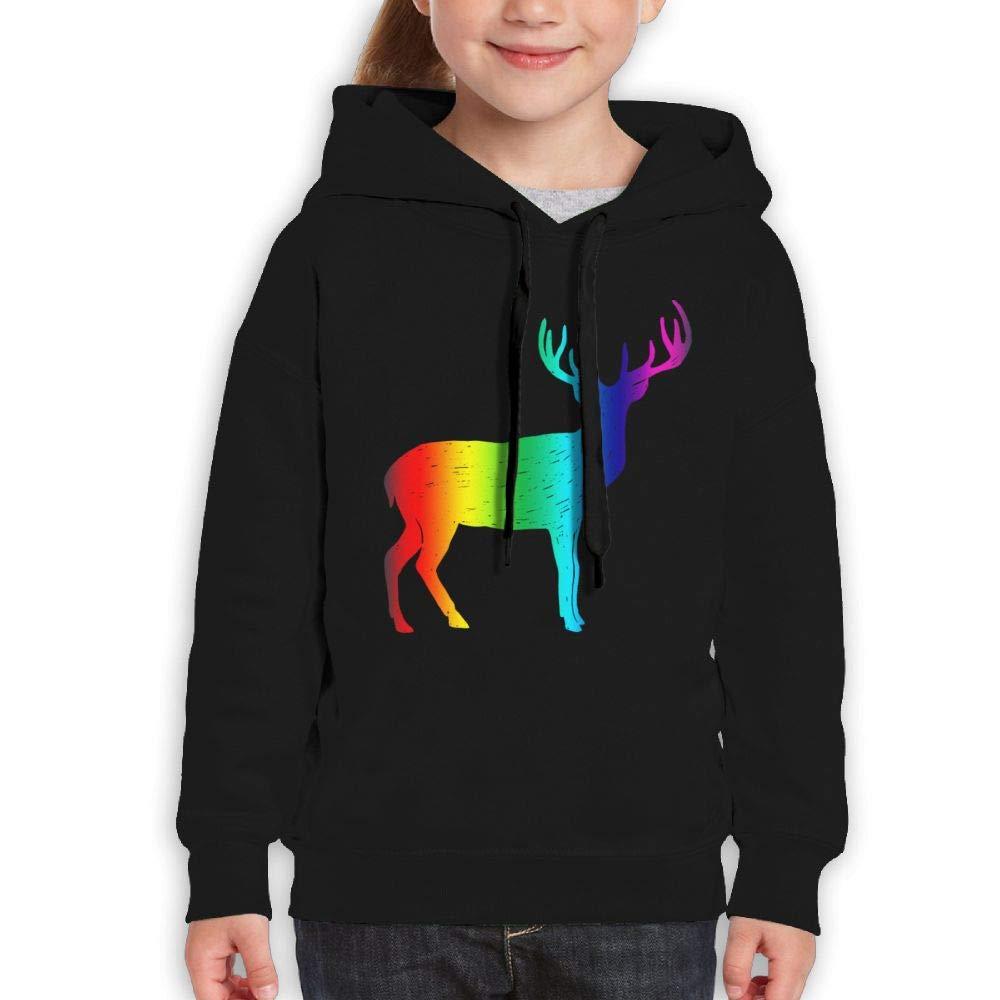 Rainbow Deer Silhouette Youth Hoody Print Long Sleeve Sweatshirts Girl's