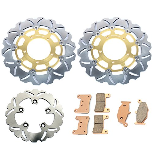 (TARAZON Gold Set Front Rear Brake Rotors Discs and Pads for Suzuki GSXR1000 2007 2008 GSXR600 GSXR750 06 07)