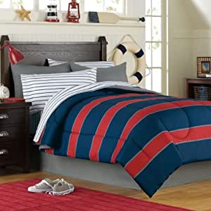 Amazon Com Blue Amp Red Rugby Stripe Boys Twin Comforter