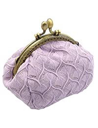 iSuperb Coin Purse Card Pouch Keys Wallet Cute Classic Jewelry Pouch Clasp Closure Wallet 5.1x3.5x3.2 inch(Lavender)