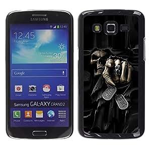 TopCaseStore / la caja del caucho duro de la cubierta de protección de la piel - Death Grim Reaper Skull Evil - Samsung Galaxy Grand 2 SM-G7102 SM-G7105