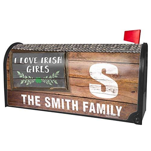 NEONBLOND Custom Mailbox Cover I Love Irish Girls St. Patrick's Day Green Leaves with Shamrock